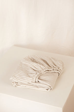 fitted cot sheet · flax stripe