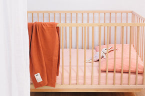 100% Linen Fitted Cot Sheet in Blush Pink
