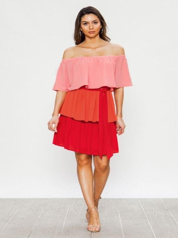 Off The Shoulder Tiered Dress