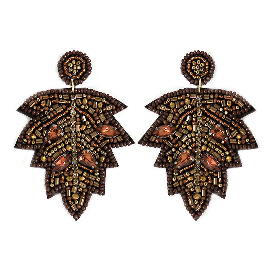 Beaded Leaf Earrings- Brown