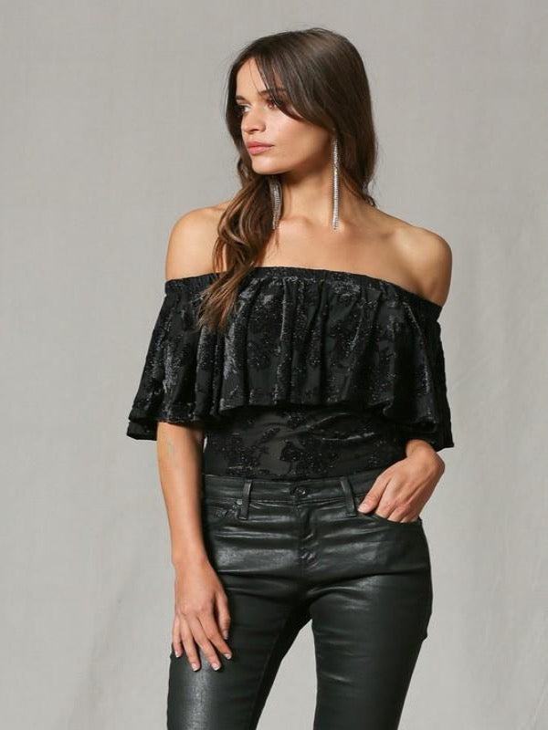 Velvet Burnout Glitter Top- Black