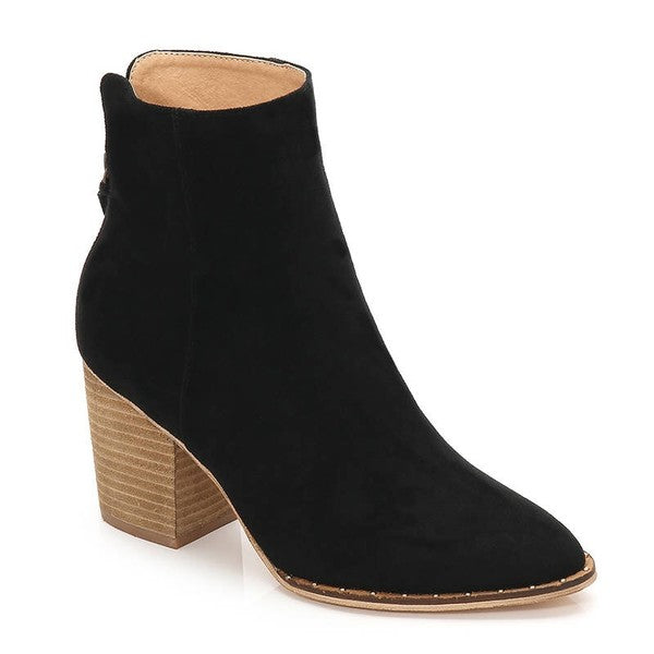 The Willow Faux Suede Bootie- Black
