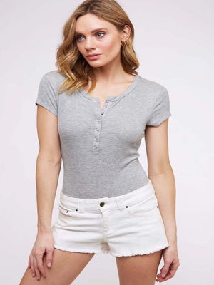Willow Ribbed Henley Bodysuit- Grey