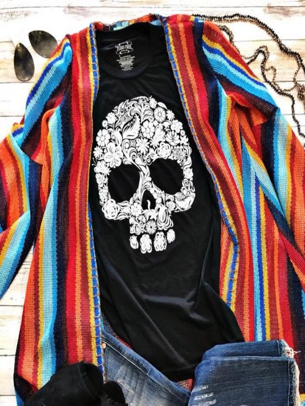 Sugar Skull Graphic Tee- VNeck