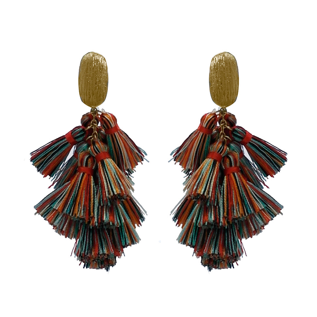 Thread Tassel Drop Earring- Dark MultiColor