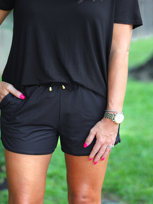 Nyx Black Drawstring Shorts