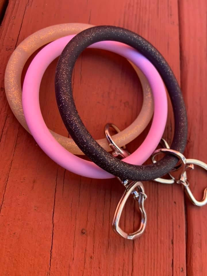 Silicone Bangle Key Ring- Pink Non-Glitter
