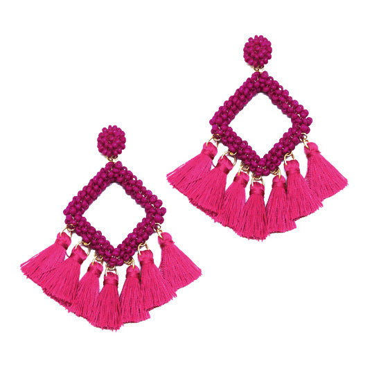 Square Bead Earring With Tassel- Fuchsia