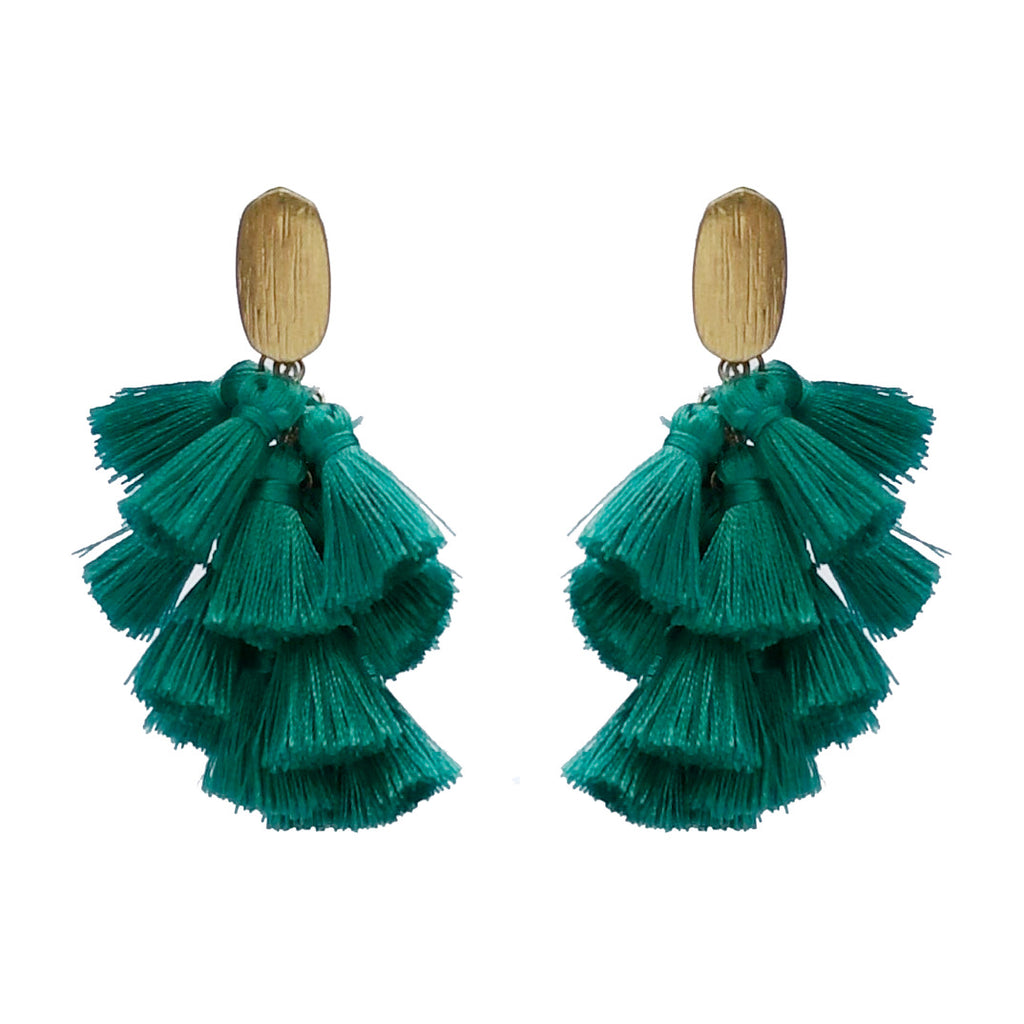 Thread Tassel Drop Earring- Turquoise