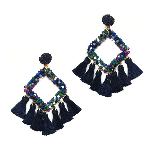 Square Bead Earring With Tassel- Navy
