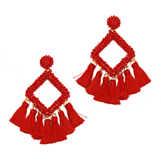 Square Bead Earring With Tassel- Red