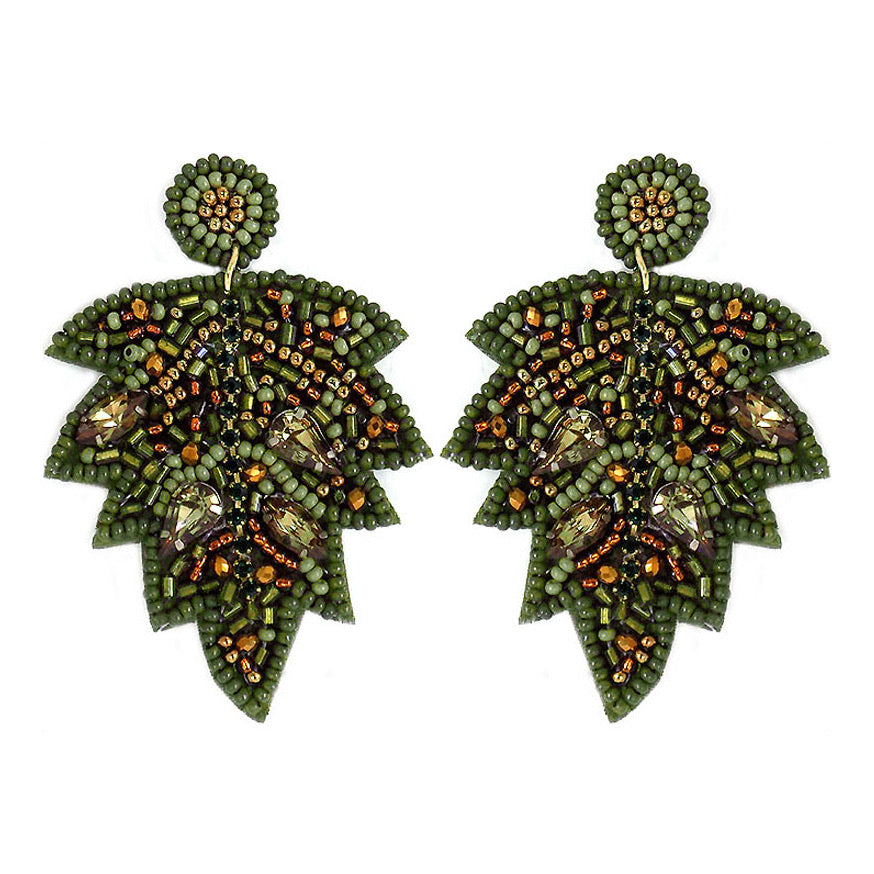 Beaded Leaf Earrings- Olive