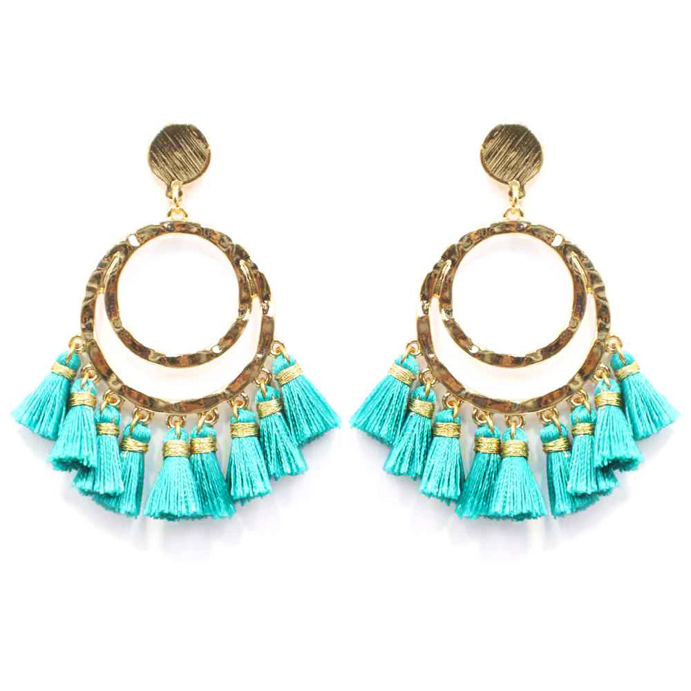 Hammered Circle Tassel Earring- Turquoise