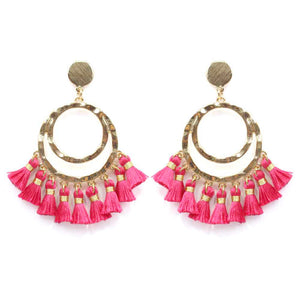 Hammered Circle Tassel Earring- Fuchsia