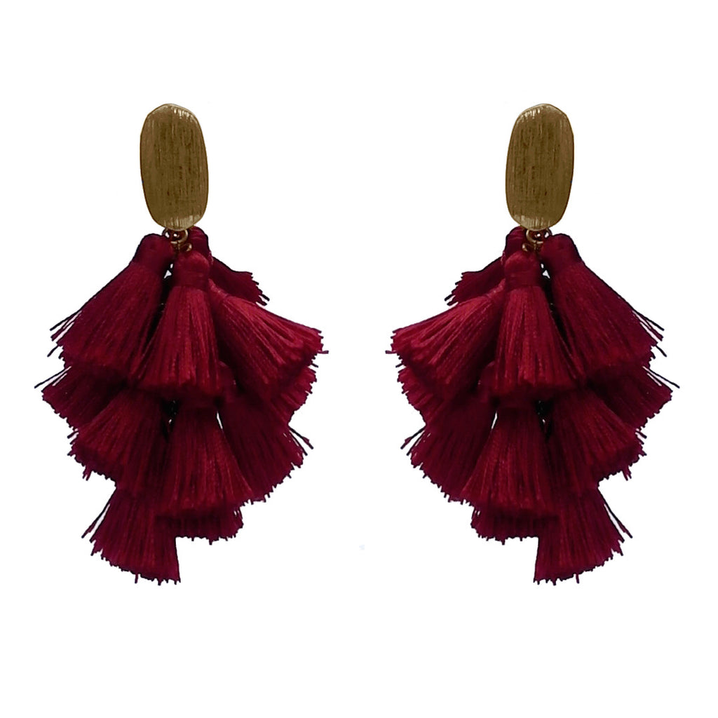 Thread Tassel Drop Earring- Burgundy