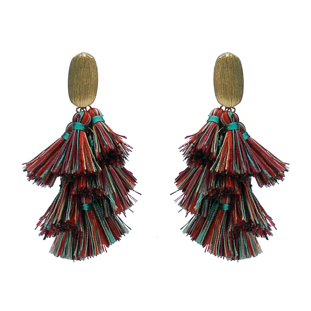 Thread Tassel Drop Earring- MultiColor