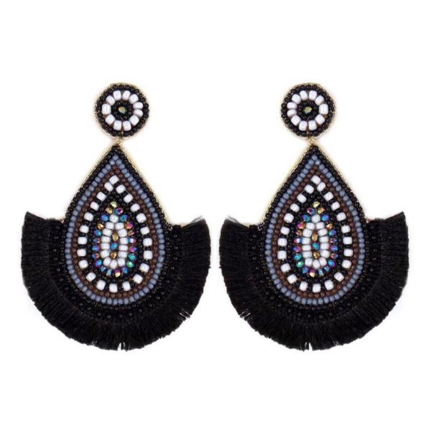 Bead Teardrop/Fringe Earring- Black