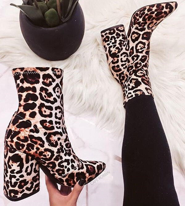 Hello Gorgeous Sock Booties- Snow Leopard