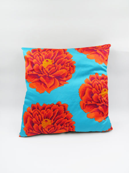 Turquoise/ Orange Floral Cushion