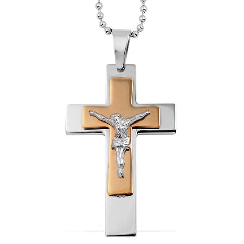 Yellow Plated Cross Stainless Steel Pendant