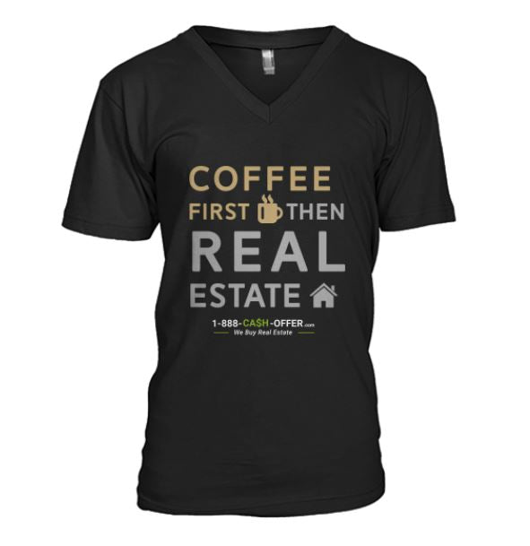 Coffee First Then Real Estate V-Neck