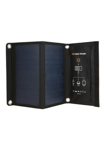 15W Foldable Solar Panel Battery Charger Power Bank with Dual USB Charging Port - Solar Statues
