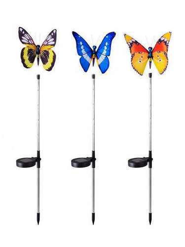 Colour Changing Solar Butterfly LED Lights (Set of 3) - Solar Statues