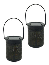 Metal Rattan Solar LED Hanging Lights (Set of 2) - Solar Statues