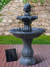 3 Tier Fountain with Solar Panel - Black - Solar Statues