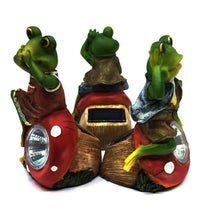 Three Wise Frogs Solar Set - Solar Statues