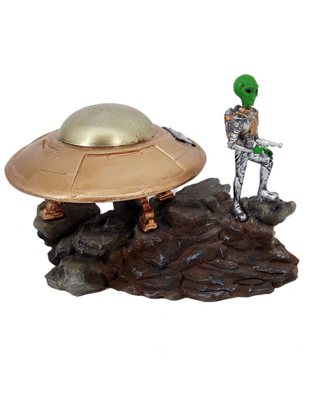 Alien with Solar Powered Spaceship - Solar Statues