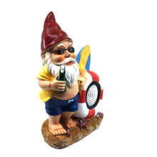 Beach Gnome with Solar Life Buoy - Solar Statues