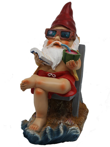Beach Gnome with Solar Glasses - Solar Statues