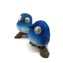 Bluebird Pair with Solar Eyes - Solar Statues