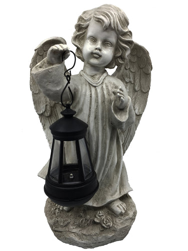 Cherub with Solar Lantern (Right Hand) - Solar Statues