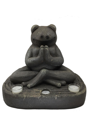Meditating Frog with Solar Light - Solar Statues