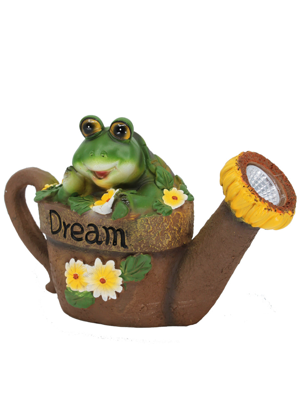 Solar Watering Can with Frog - Solar Statues