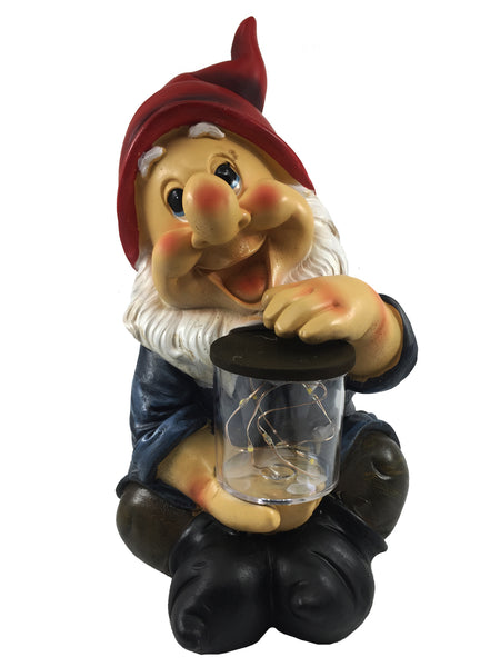 Garden Gnome with Solar Firefly Jar - Solar Statues