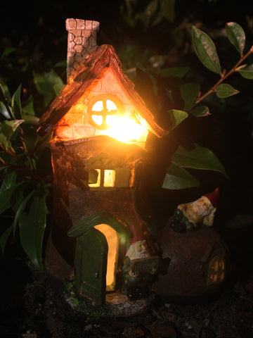 Gnome Shoe House with Solar Lights - Solar Statues