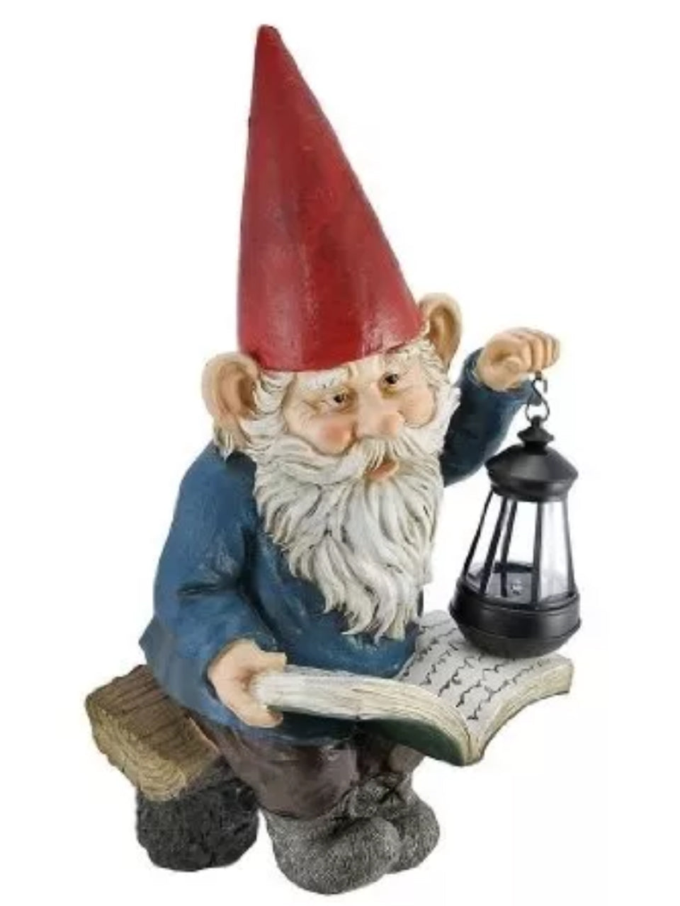 Gnome Reading Book with Solar Lantern - Solar Statues