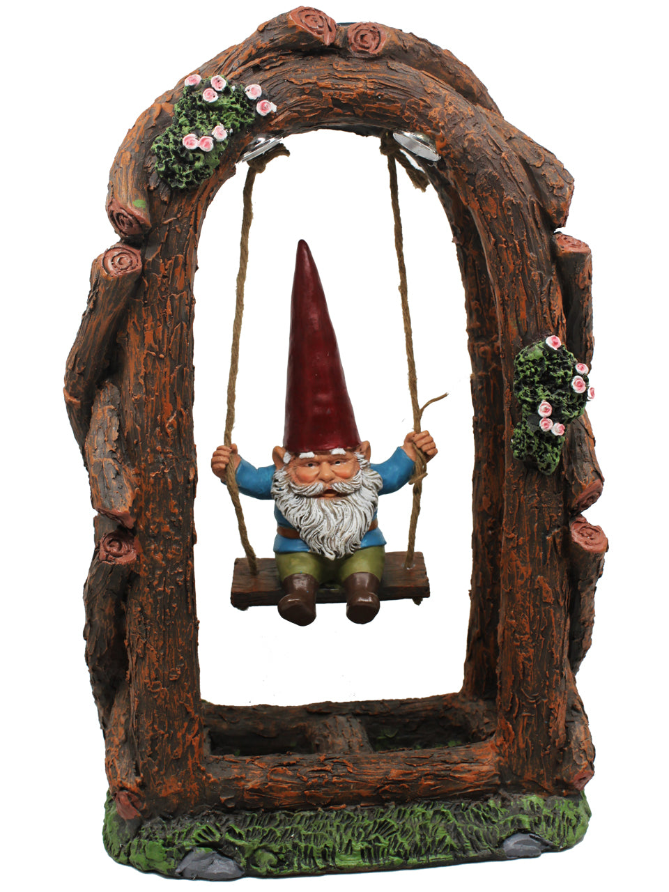 Gnome on Swing with Solar Lights - Solar Statues
