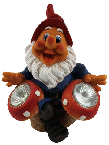 Garden Gnome with Twin Solar Lights - Solar Statues