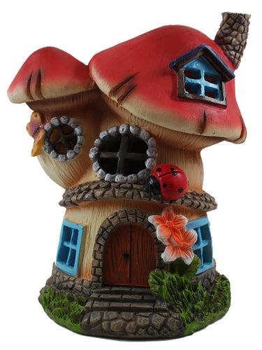 Red Mushroom House with Solar Light - Solar Statues