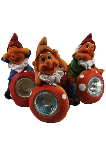 Three Wise Gnomes Solar Set - Solar Statues