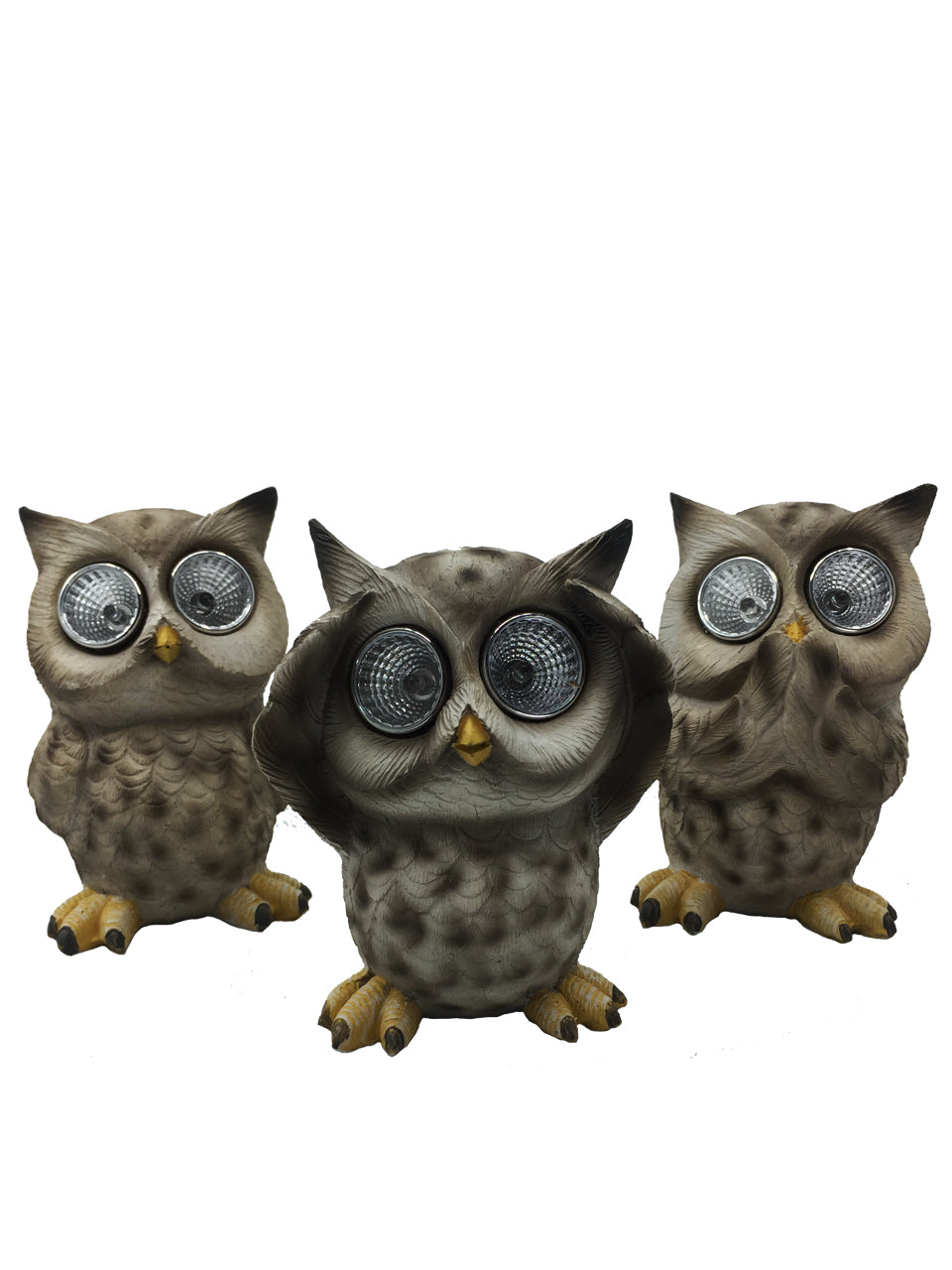 Three Wise Owls Solar Set - Solar Statues