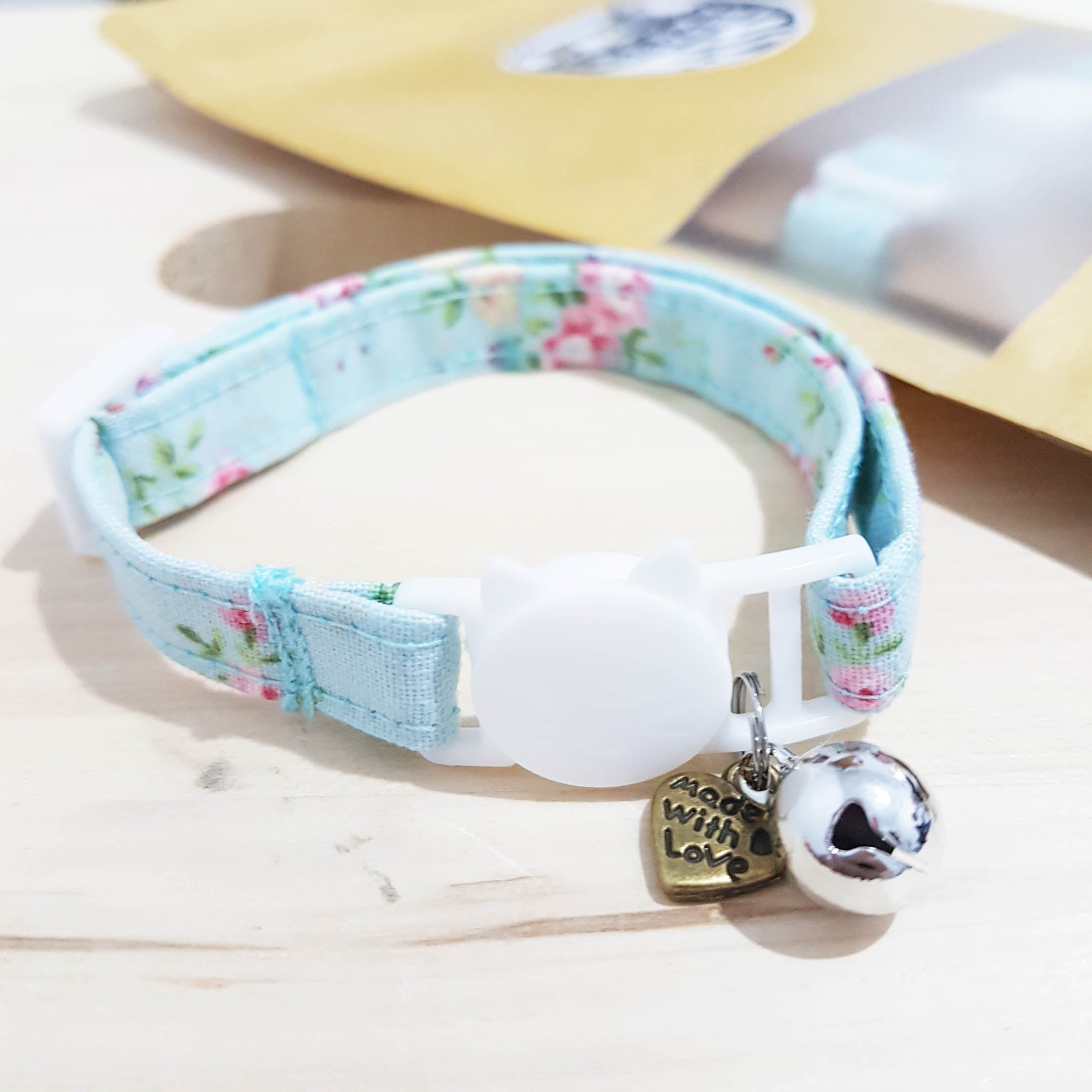 71840bfc3bc1b Pastel Blue Floral Cat Collar Stripe | Sneaky Whiskers