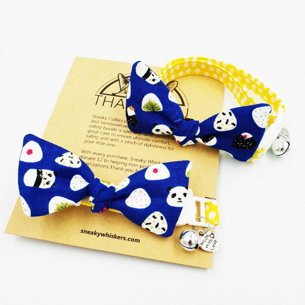 Blue Panda Onigiri Bow Cat Collar (Available in 2 Stripes)