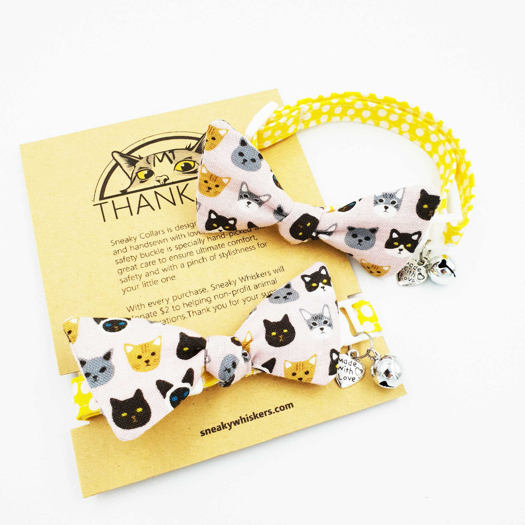 Little Cute Meows Bow Cat Collar (Available in 2 Stripes)