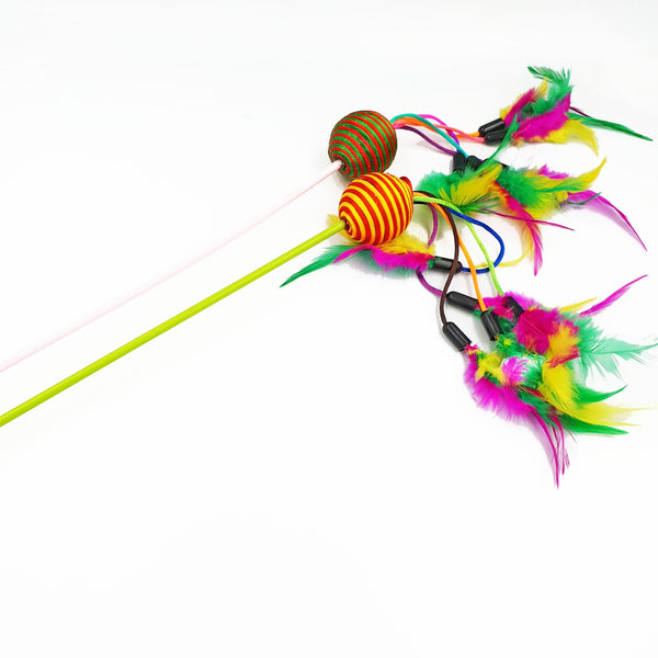 Cat Teaser Colourful Ball With Dangling Feathers (Available in 2 Colours)