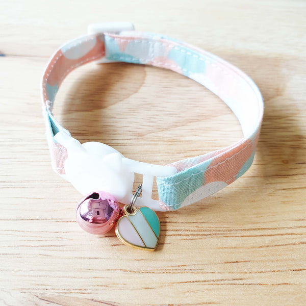 Cat Collar Stripe with Sweet Heart Charm